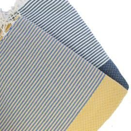 small yellow and navy stripe towels